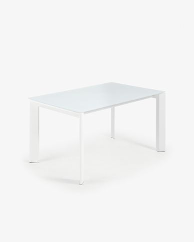 Extendable table Axis 140 (200) cm white glass white legs
