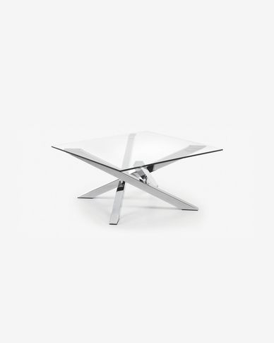 Kamido coffee table 90 x 90 cm on glass top steel legs