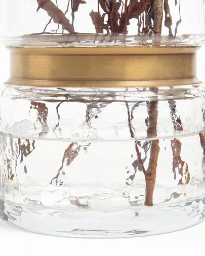 Juliana vase transparant glass 19,5 cm with brass detail