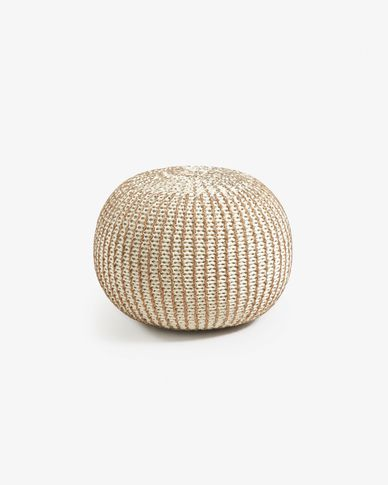White and brass Shott pouf Ø 45 cm