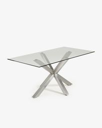 Argo table 160 cm glass matt stainless steel legs