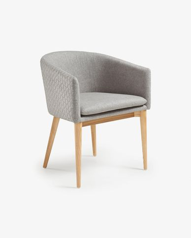 Light grey and natural Harlan armchair