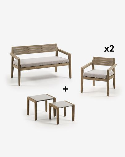 Clodie Bench Pack with Chair and Two Side Tables