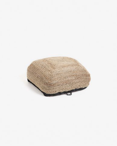 Natural and black Delai pouf 60 x 60 cm