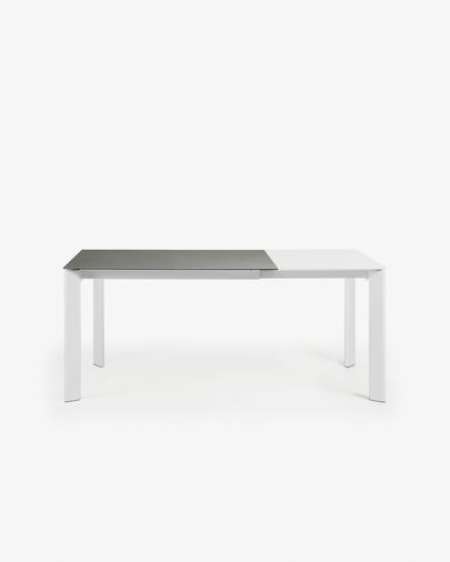 Extendable table Axis 120 (180) cm porcelain Hydra Lead finish white legs