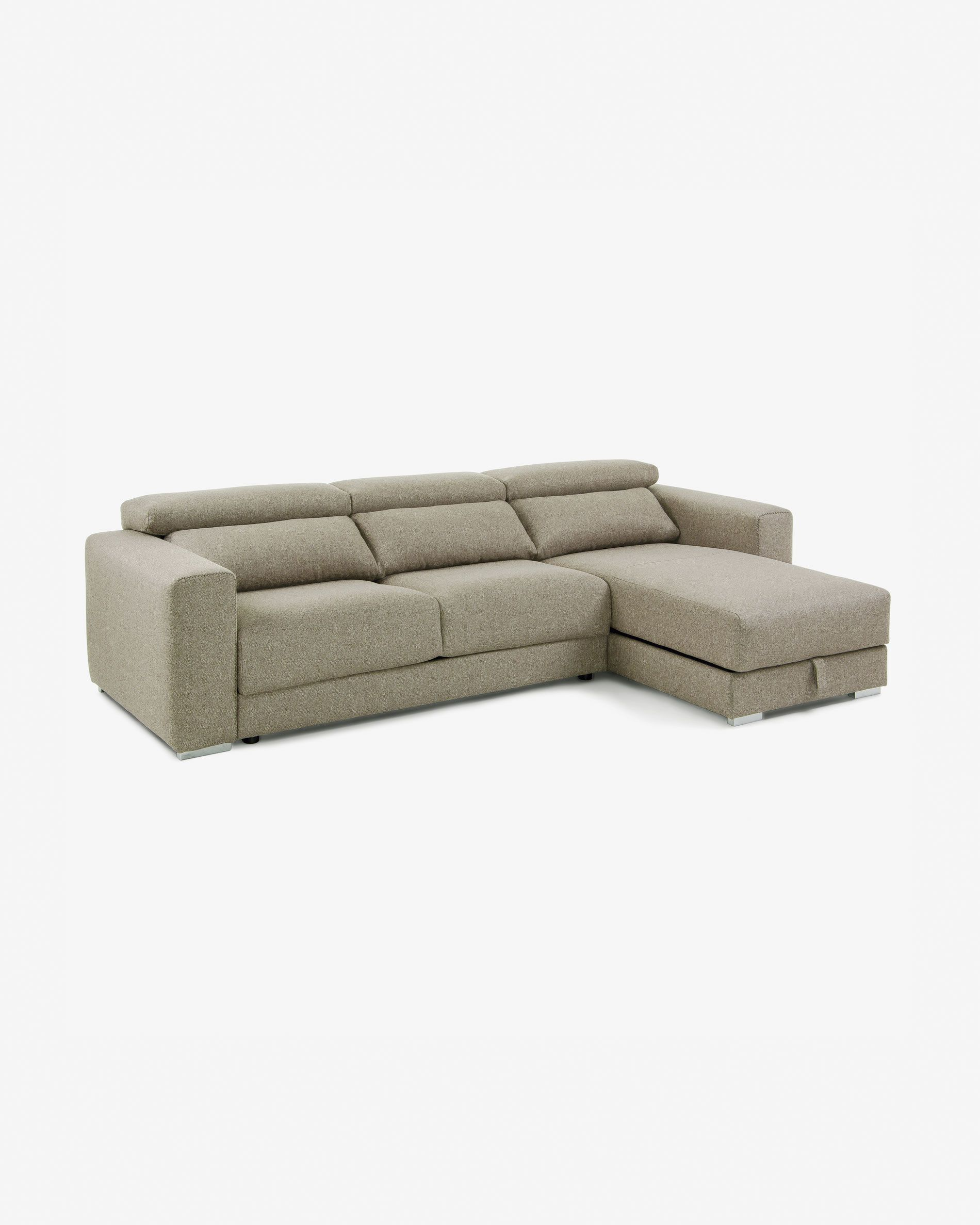 Beige 3 Seater Atlanta Sofa With Chaise
