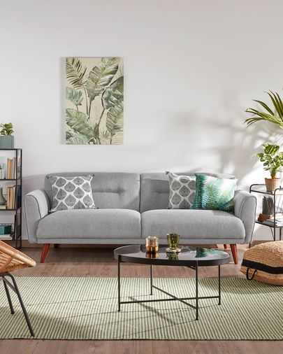 Light grey three-seater Oksana sofa 215 cm