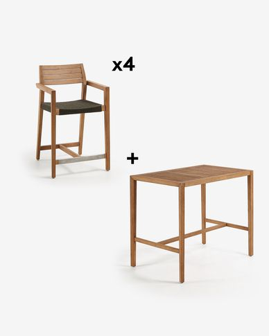 Rectangular Coline Table Pack with four 62 cm Tess Stools