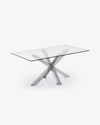 Argo table 160 cm glass stainless steel legs