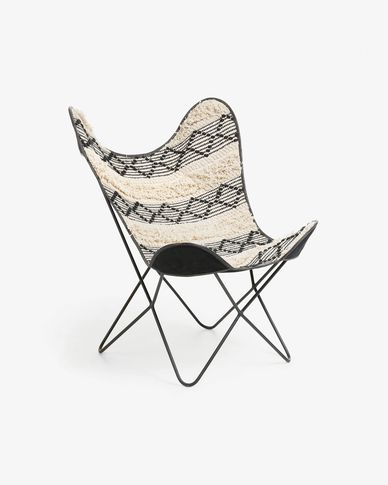 Fly armchair ethnic black and white
