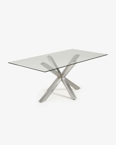 Argo table 200 cm glass matt stainless steel legs