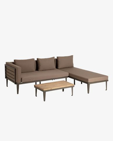 Pascale sofa, chaise longue and side table set