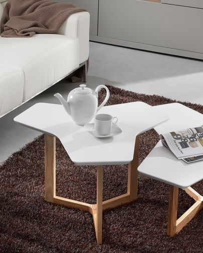 Treffles coffee table 76 cm, ash and white