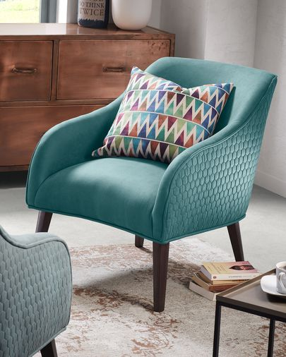 Turquoise Bobly armchair wenge finish legs