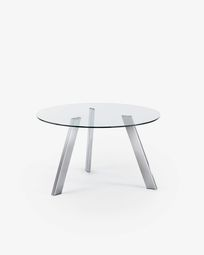 Carib table glass and silver Ø 130 cm
