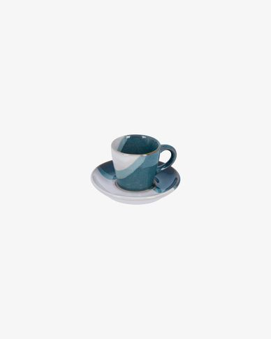 White and blue Nelba coffee cup with plate