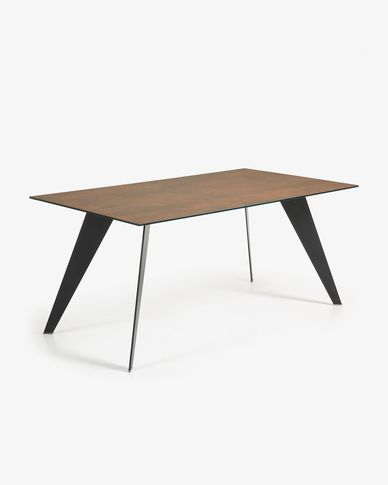 Koda table 180 cm porcelain Iron Corten black legs