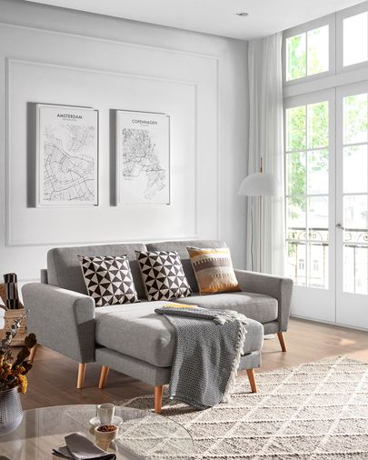 Light grey 3-seater Narnia chaise longue sofa 192 cm