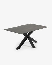 Argo table 160 cm porcelain  Iron Moss finish black legs
