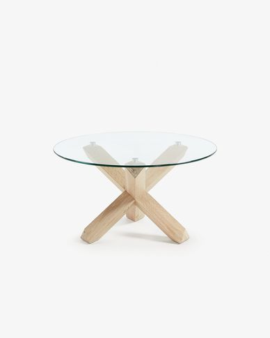 Glass top Lotus coffe table Ø 65 cm
