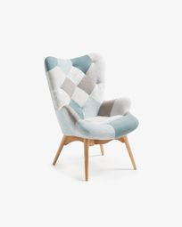 Kody armchair patchwork blue