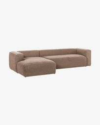 Pink Blok 3-seater sofa with left chaise longue 330 cm