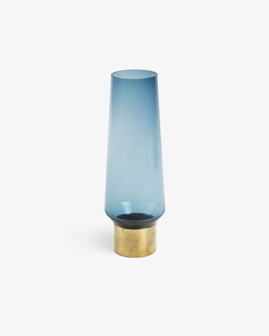 Issue vase, blue glass 32,5 cm brass detail