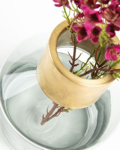Issey vase, grey glass 21 cm with brass detail