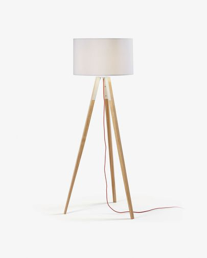 Floor lamp Iguazu, white and wood