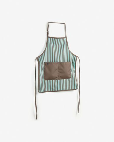 Apron Shire turquoise and brown with stripes