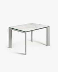 Extendable table Axis 120 (180) cm porcelain Kalos White finish gray legs