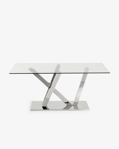 Nyc table 200 cm glass stainless steel legs