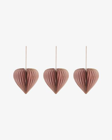 Uriel set of 3 pink Christmas baubles
