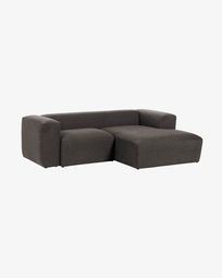 Grey Blok 2-seater sofa with right chaise longue 240 cm