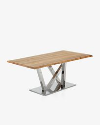 Nyc table 180 cm natural oak stainless steel legs