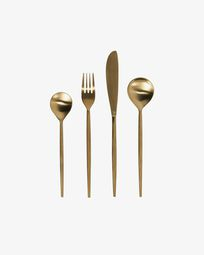 Lite rounded handle 16-piece golden cutlery set