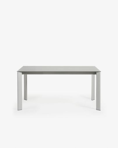 Extendable table Axis 160 (220) cm gray glass gray legs