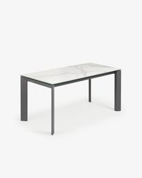 Table extensible Axis 160 (220) cm grès cérame finition Kalos Blanc pieds anthracite