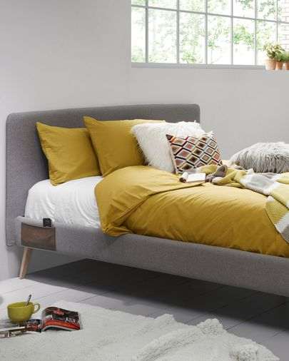 Dyla bed 150 x 190 cm grey