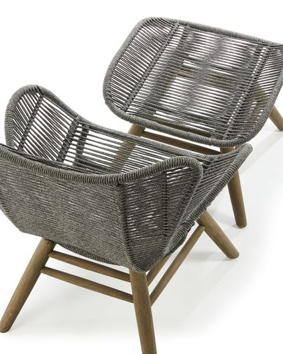 Zabel armchair with footrest grey