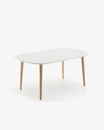 Mesa extensible oval Oqui 160 (260) x 100 cm blanco