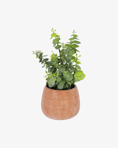 Eucalyptus artificial plant in brown pot