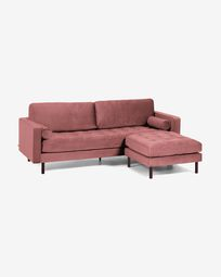 Debra pink velvet 3-seater sofa with pouf 222 cm