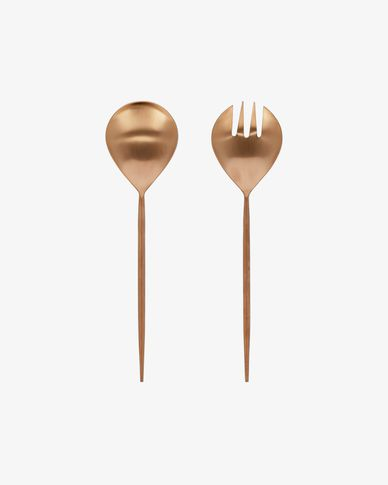 Kelda 2-piece cutlery set for salad rose gold
