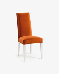 Chaise Freda velours orange et blanc