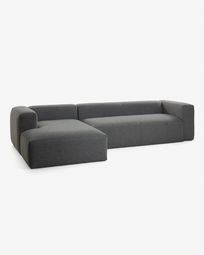 Dark grey 3 seaters Blok sofa with left chaise longue 330 cm