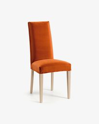 Chaise Freda velours orange et naturel