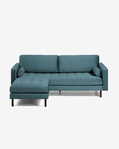 Debra turquoise velvet 3 seaters sofa with pouf 222 cm