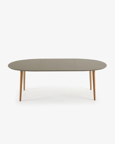 Mesa extensible oval Oqui 140 (220) x 90 cm marrón