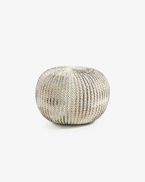 White and silver Shott pouf Ø 45 cm